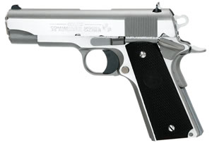 Colt 1991 Commander Pistol O4091U, 45 ACP, 4 1/4 in BBL, Sngl Actn Only, Blk Rubber Grips, 3-Dot Sights, Stainless Finish, 7 + 1 Rds
