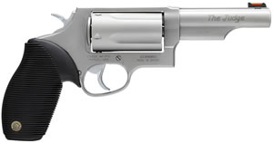 Taurus Model 45/410 Tracker Revolver 2441049T, 410 GA / 45 Long Colt, 4 in BBL, Sngl / Dbl, Ribber Grip Overlay, Fiber Opt Sights, Mt Stainless Finish, 5 Rds