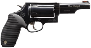 Taurus Model 45/410 Tracker Revolver 2441041T, 410 GA / 45 Long Colt, 4 in BBL, Sngl / Dbl, Ribber Grip Overlay, Fiber Opt Sights, Blue Finish, 5 Rds