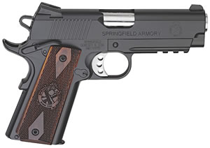Springfield Champion 1911 Pistol PX9115LP, 45 ACP, 4 in BBL, Sngl Actn Only, Coco Wood Grips, Fixed Cmbt Tritium Sights, Blk Finish, 7 + 1 Rds