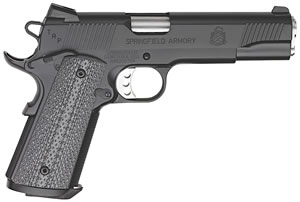 Springfield TRP Trophy Service Pistol PC9108LP, 45 ACP, 5 in BBL, Sngl Actn Only, Comp Grips, Tritium Night Sights, Blk(Armory Kote) Finish, 7 + 1 Rds