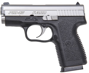 Kahr Model PM45 Pistol PM4543, 45 ACP, 3.1 in BBL, Dbl Actn Only, Polymer Grips, Stainless Slide/Blk Frame, 5 + 1 Rds