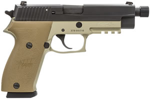 "Sig Sauer P220 Combat TB Pistol 220-45-CP-DS-TB, Full Size, 45 ACP, 5"" Barrel, DA/SA, FDE Polymer Grips, Nitron Slide/Flat Dark Earth Frame Finish, 8 + 1 Rd, w/ Threaded Barrel"