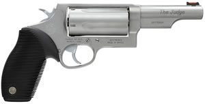 Taurus Model 45/410 Tracker Revolver 2441049MAG, 410 GA / 45 Long Colt, 4 in BBL, Sngl / Dbl, Ribber Grip Overlay, Fiber Opt Sights, Mt Stainless Finish, 5 Rds