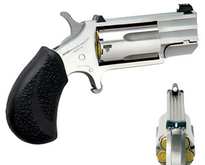 NAA Pug Revolver PUGD, 22 Winchester Magnum, 1 in BBL, Sngl Actn Only, Rubber Grips, 3-Dot Sights, Stainless Finish, 5 Rds