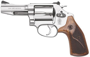 Smith & Wesson Model 60 Pro Revolver 178013, 357 Remington Mag, 3 in BBL, Sngl / Dbl, Wood Grips, Night Sights Adj Rear Sights, Mt Stainless Finish, 5 Rds