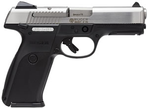 Ruger Model SR9 Pistol 3301, 9 MM, 4.1 in BBL, Dbl Actn Only, Syn Grips, Adj Sights, Blk/SS Finish, 17 + 1 Rds