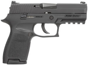 Sig Sauer P250 Compact Pistol 250C40BSS, 40 S&W, 3.86 in BBL, Dbl Actn Only, Polymer Grips, Siglite Night Sights, Blk Nitron Finish, 13 + 1 Rds