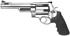Smith & Wesson Model 500 Revolver 163565, 500 S&W, 6 1/2 in Half Lug BBL, Sngl / Dbl, Syn Grips, Stainless Finish, 5 Rds