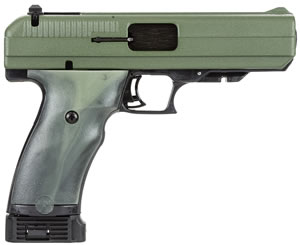 Hi Point Pistol 34512, 45 ACP, 4 1/2 in BBL, Dbl Actn Only, Polymer Grips, 3-Dot Sights, Green Camo Finish, 10 + 1 Rds