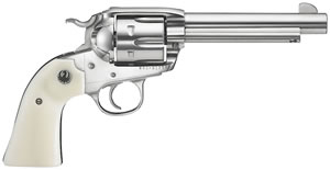 Ruger Bisley Vaquero Revolver 5130, 357 Remington Mag, 5 1/2 in BBL, Sngl Actn Only, Simulated Ivory Grips, Fixed Sights, High Gloss Stainless Finish, 6 Rds
