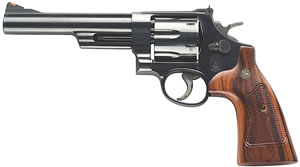 Smith & Wesson Model 57 Classic Revolver 150481, 41 Remington Mag, 6  in BBL, Sngl / Dbl, Square Butt Walnut Grips, Bright Blue Finish, 6 Rds