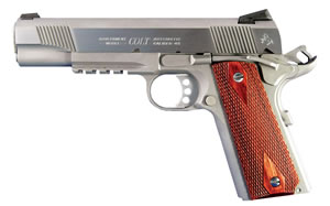 Colt Government Pistol O1070RG, 45 ACP, 5 in BBL, Sngl Actn Only, Rosewood Grips, Novak Sights, Stainless Finish, 8 + 1 Rds