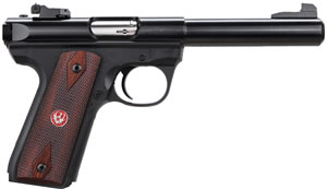 Ruger Model 22/45 P512MKIIIRP Pistol 10140, 22 Long Rifle, 5.5 in Bull in BBL, Single, Cocobolo Wood Grips, Blue Finish, 10 + 1 Rds, Adj Sights