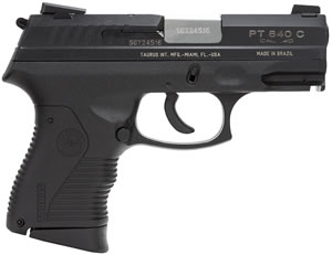 Taurus Model 840 Compact Pistol 1840041C, 40 S&W, 3 1/2 in in BBL, Single / Double, Chk Grips, Blue Finish, 10 + 1 Rds
