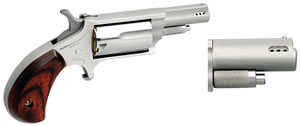 NAA Mini-Revolver 22MP, 22 Magnum, 1 5/8 in Ported, Rosewood Grip, Stainless Finish, 5 Rd