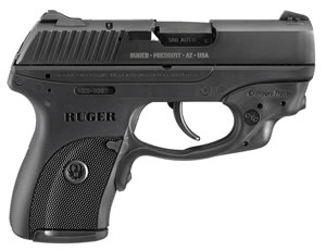 "Ruger LC380CT Centerfire Pistol 3230, 380 ACP, 3.12"" BBL, Dbl Act, Crimson Trace Laserguard Sights, Black Nylon Grips, Blued Finish, 7 + 1 Rd"