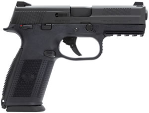 FN Herstal FNS9 Pistol 66931, 9 mm, 4 in, Polymer Grip, Black Finish, 10+1 Rd, Night Sights