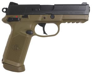 FN Herstal FNX-45 USG Pistol 66964, 45 ACP, 4 in, Poly Grip, Flat Dark Earth/Black Finish, 15 + 1 Rd