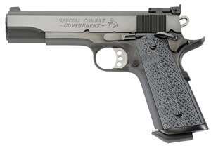 Colt Special Combat Government Pistol O1990CM, 45 ACP, 5 in, Dbl Dia Silver Black Grip, Blue Finish, 8 + 1 Rds
