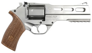 Chiappa Rhino Revolver 340076, 357 Rem Mag, 5 in, Wood Grip, Nickel Finish, 6 Rd