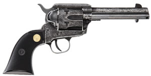 Chiappa SAA 1873-22 Revolver 87322ANT, 22 Long Rifle, 4.75 in, Black Chkd Grip, Antique Finish, 6 Rd