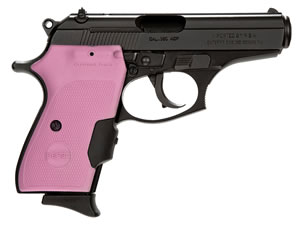 Bersa Thunder Pisol w/Pink Crimson Trace Grip T380MCTP, 380 ACP, 3.5 in, Pink Checkered laser Grip, Black Finish, 7+1