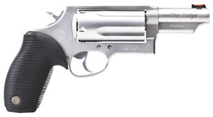Taurus The Judge Magnum Revolver 2441069MAG, 410/45 Long Colt, 6.5 in, Ribber Grip Overlay Grip, Stainless Finish, 5 Rds