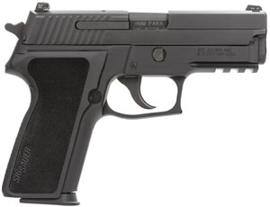 "Sig Sauer P229 Pistol 229RM-9-BSS, 9 mm, 3.9"" Barrel, DA/SA, Black Polymer Factory Grips, Nitron Slide/Black Anodized Frame Finish, 10 + 1 Rd, SigLite Night Sights, MA Compliant"