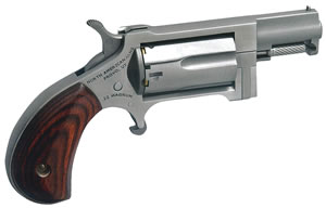 NAA Sidewinder Mini Revolver NAASW, 22 Magnum, 1.63 in, Rosewood Grip, Stainless Finish, 5