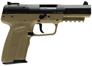 FN Herstal Five-Seven Pistol 3868929352, 5.7X28 mm, 4.75 in, Polymer Grip, Flat Dark Earth Finish, 10+1 Rd