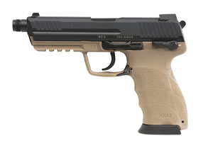 HK 45T Tactical Pistol 745001TTA5, 45 ACP, 5.16 in Threaded BBL, Semi-Auto, Interchangeable Backstraps Grip, Desert Tan Finish, 10+1 Rd
