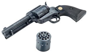 Chiappa Single Action Army Revolver CF340155D, 22 Long Rifle/22 Mag, 4.75 in, Black Chkd Grip, Black Finish, 10 Rd
