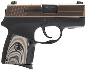 Sig Sauer Model P290RS ORB Pistol 290RS9EORB, 9mm, 2.9 in, Semi-Auto, DAO, G10 Grip, Bronze Slide/Blk Lower Finish, 6+1