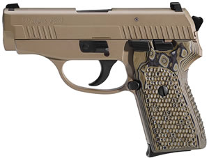 Sig Sauer Model P238 Scorpion Pistol 239357SCPN, 357 Sig, 3.6 in, Hogue G10 Piranha Grip, Flat Dark Earth Finish, 7+1