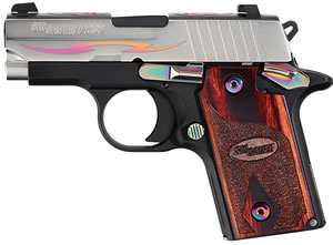 Sig Sauer Model P238 Rosewood Tribal Pistol 238380NSSTRIBALCRG, 380 ACP, 2.7 in, Rosewood Grip, Black Hard Coat Anodized Finish, Stainless Slide w/Tribal Pattern, 6+1