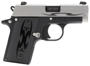 Sig Sauer Model P238 Tribal Pistol 238380TSSTRIBAL, 380 ACP, 2.7 in, Aluminum Grip, Black Hard Coat Anodized Finish, Stainless Slide w/Tribal Pattern, 6+1