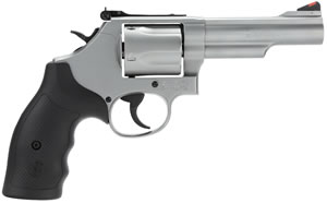 "Smith & Wesson Model 69 L-Frame Revolver 162069, 44 Rem Mag, 4.25"" BBL, SA/DA, Syn Grips, Stainless Finish, 5 Rd"