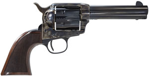 "Taylors Uberti Smoke Wagon Revolver 4107DE, 357 Mag, 4.8"" BBL, Single Act, Walnut Checkered Grips, Fixed Sights,  Blue/Case Hard Finish, 6 Rds"
