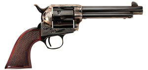 "Taylors Uberti Smoke Wagon Revolver 4114DE, 45 Long Colt, 3.5"" BBL, Single Act, Walnut Checkered Grips, Fixed Sights, Blue/Case Hard Finish, 6 Rds"