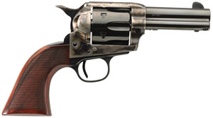 "Taylors Uberti Runnin Iron Revolver 4201DE, 45 Long Colt, 3.5"" BBL, Single Act, Walnut Checkered Grips, Blade Front Sights, Blue/Case Hard Finish, 6 Rds"