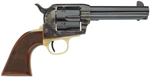 "Taylors Uberti Ranch Hand Revolver 555135, 45 Long Colt, 4.8"" BBL, Single, Wood Checkered Grips, Blade Front Sights, Blue/Case Hard/Brass Backstrap Finish, 6 Rds"