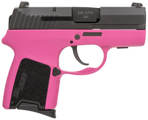 Sig Sauer P290RS SubCompact Pistol 290RS380PNK, 380 Automatic Colt Pistol (ACP), 2.9 inch BBL, Double Act Only, Enhanced G10 Pink Grips, Night Sights, Pink/Black Finish