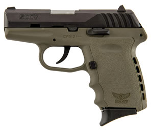 SCCY CPX-2 Pistol CPX2CBDE, 9mm, 3.1 inch BBL, Double Act, Integral Grips, 3-Dot Adj Rear Sights, Black/FDE Finish, 10+1 Rds