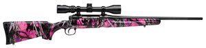 Savage Axis XP Muddy Girl Youth Rifle 19977, 7mm-08 Rem, 20 in, Bolt Action, Muddy Girl Camo Stock, Matte Blk Finish, 4 Rds, DBM w/ Scope 3-9X40