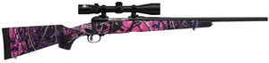 "Savage Model 11 Trophy Hunter Youth Rifle 22208, 308 Winchester, 20"" BBL, Bolt Action, Syn Muddy Girl Camo Stock, Mt Black Finish, Nikon Scope, 4 + 1 Rd"