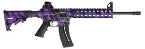 "Smith & Wesson M&P 15-22 Rifle 10042, 22 LR, 16.5"" BBL, Blow-Back Action, Fixed Stock, Purple Platinum/Black Finish, 10 + 1 Rd, CA Compliant"