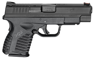 "Springfield XDS9409BE XDS Essential Pistol, 9mm, 4"" BBL, Double Act, Black Polymer Grips, Fib Opt Front, Fixed Dovetail Rear Sights, Black Finish, 7+1 Rds"
