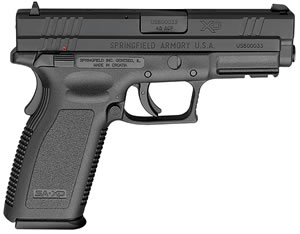 "Springfield XD9661HC XD Essential Service Model Pistol, 45 ACP, 4"" BBL, Double Act, Integral Grips, Dovetail Front, 3-Dot Rear Sights, Black Finish, 13+1 Rds, Thumb Safety"