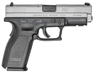 "Springfield XD9302HC XD Essential Two-Tone Pistol, 40 S&W, 4"" BBL, Double Act, Black Polymer Grips, 3-Dot Dovetail Sights, Black Finish, 12+1 Rds"